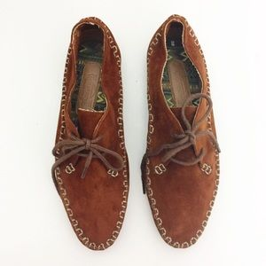 Genuine Leather Lace Up Moccasin Loafer Size 8